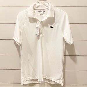 LACOSTE Sport Large Ultra Dry White Polo with Logo